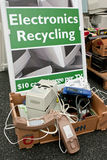 Sign Marks Spot To Dump Electronics At Recycling Event Stock Photography