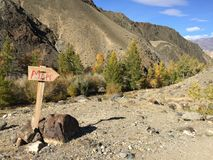 Sign with Mars inscription on it. Poiting to Mars. Martian rocky landscape on Earth. Altai. Russia royalty free stock photos