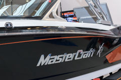 Sign of MasterCraft on the boat Stock Photos