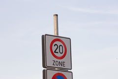 Sign maximum speed 20 Stock Images