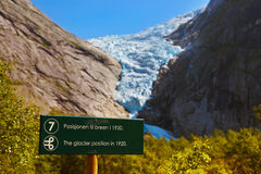 Sign - Melting Briksdal glacier - Norway Royalty Free Stock Images
