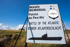 Sign of the memorial of the battle of the Atlantic in Brittany, Stock Images