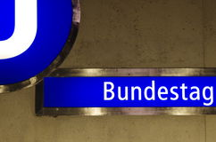 The sign of metro station bundestag Royalty Free Stock Photos