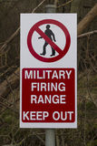 Sign Military Firing Range Keep Out. Red UK Army warning sing, crossed through man, Military Firing Range Keep Out Stock Photo