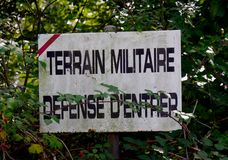 Sign, military ground, defense of entering Stock Photography
