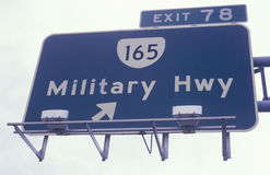 A sign for military highway in Norfolk Royalty Free Stock Photos