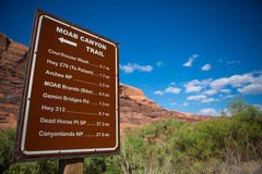 Sign moab canyon trail Royalty Free Stock Images