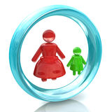 Sign mom with baby. Sign mom with a child at registration information related to family and children Stock Photos