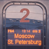 Sign Moscow - St. Petersburg. Stock Photography