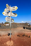 Sign on Mount Bental. Directions sign on Mount Bental on the border between Israel and Syria Stock Images