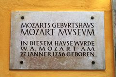 Sign of Mozart's birthplace Stock Images