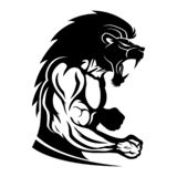 Sign of muscular athlete fighter. Sign of muscular athlete fighter with lion head stock illustration