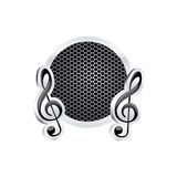 Sign music treble clef icon relief with metallic frame with grill perforated Royalty Free Stock Photo