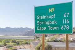 Sign on N7 road in South Africa Stock Photos