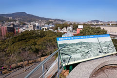 A sign at Nagasaki Peace Park for Atomic Bomb Victims. Ground Zero, the bomb was dropped on August 9, 1945. A sign at Nagasaki Peace Park for Atomic Bomb Stock Photo