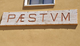 The sign with the name of Paestum. Royalty Free Stock Images
