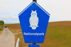 Sign of National park on the island of Borkum, Germany Stock Images