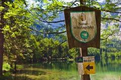 Sign nature reserve, austria Stock Photos