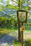 Sign nature reserve, austria stock photography