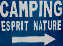 Sign with a nature and spirit camping concept. Royalty Free Stock Photography