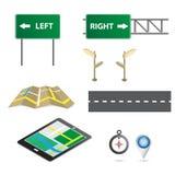 Sign with navigator map Stock Photos
