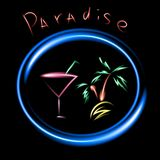 Sign neon Alcoholic Drinks with black background Stock Images