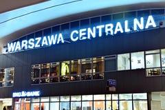 Sign neon Warszawa Centralna. Warsaw,Poland. 18 January 2018. Sign neon Warszawa Centralna Stock Photography