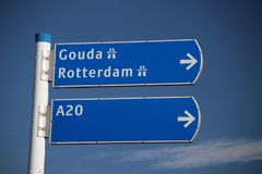 Sign in Nesselande district in Rotterdam for the directions of getting out. Which is quite busy during rush hours stock photography