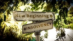 Sign NEW BEGINNING versus INSOLVENCY royalty free stock photos