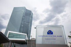Sign of the new european central bank in frankfurt germany Stock Image