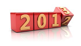 Sign new year. Red cubes with number 2012 change on 2013 Stock Photo