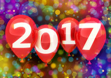 Sign new year 2017 on balloon Royalty Free Stock Image
