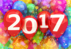 Sign new year 2017 on balloon Stock Image