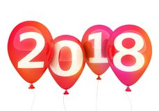 Sign new year 2018 on red balloon Stock Photo