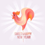 Sign New Year 2017 rooster in shape of candy on stick. Year number and rooster striped holiday candies. Vector design element for christmas, new years day Stock Images