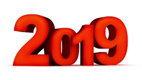 Sign new year 2019 on white background and alpha channel stock footage