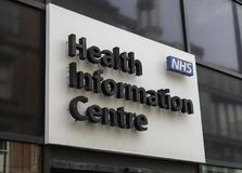 Sign for NHS Health Information Centre. In Liverpool May 2018 on Hanover Street Stock Image