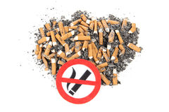 Sign of nicotine butts Stock Photos