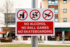 Sign: No Alcohol, Ball Games, and Skateboarding Stock Photos