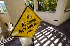 Sign for No Alcohol Beyond this point prevents people from the open container law royalty free stock image