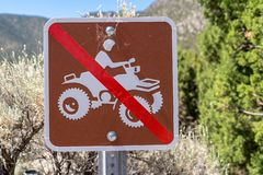 Sign for no 4x4 ATV all terrain vehicles or off roading sign stock photography