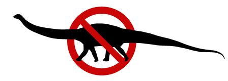 Sign: No Big Pets. No brontosaurus sign. Isolated illustration on the white background. Metaphorically it may also mean: no big pets, no politics, etc Stock Image