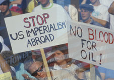 Sign �No blood for oil� at peace rally,  Los Angeles, California Royalty Free Stock Photos