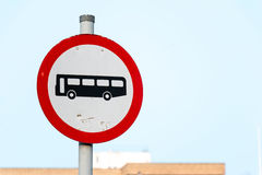 Sign: No Bus. Traffic Sign: No Bus with Blue Sky Stock Image