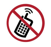 Sign - no cell phones. Black and red on white Stock Photos
