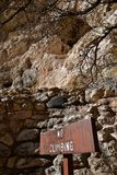 NO CLIMBING sign in front of Montezuma Castle in Arizona Royalty Free Stock Images