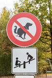 Sign No Dog Poop in a playground. Luxembourg stock photo