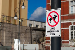 Sign - no dogs allowed in poland Stock Images