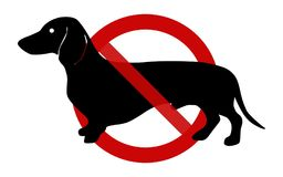 Sign: No dogs, here!. Sign: No dogs allowed on this place illustration on a white background Stock Photography