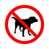 Sign No Dogs  on white background. Prohibition sign. Not Allowed Sign. Labrador retriver. Vector illustration. Royalty Free Stock Image